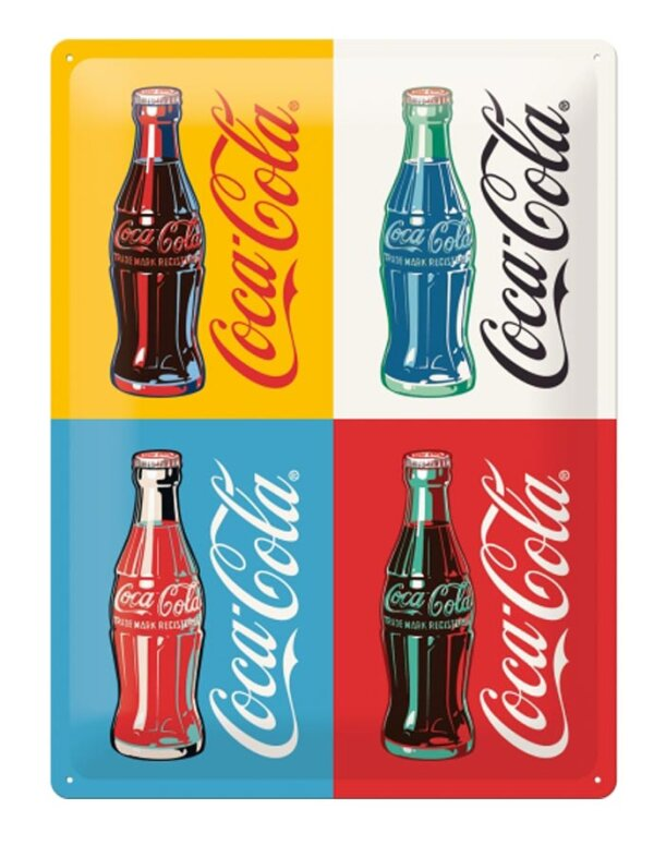 Coca Cola Four Bottles Blechschild