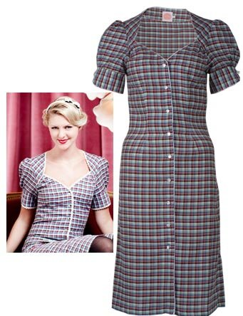 40s dress checked
