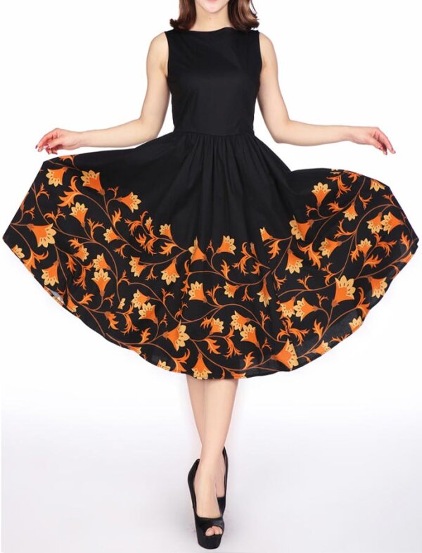 Sleeveless Dress Black Orange