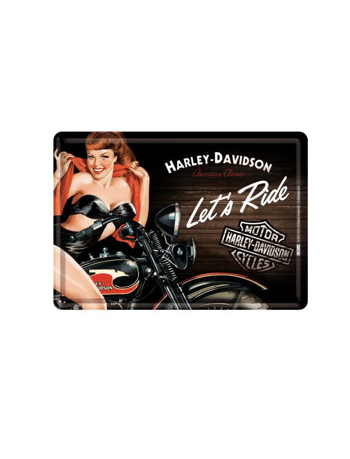 Image of Biker Babe Red Blechpostkarte