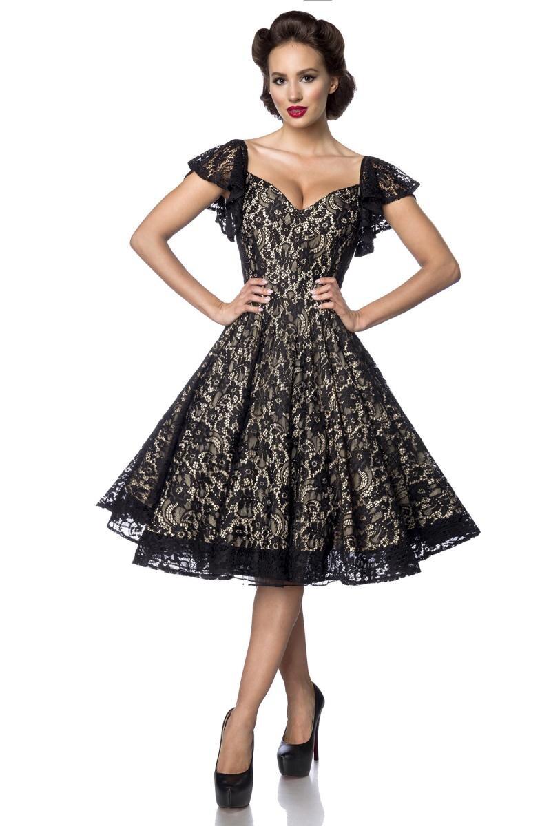 Vintage Spitzen-Kleid Schwarz/Creme