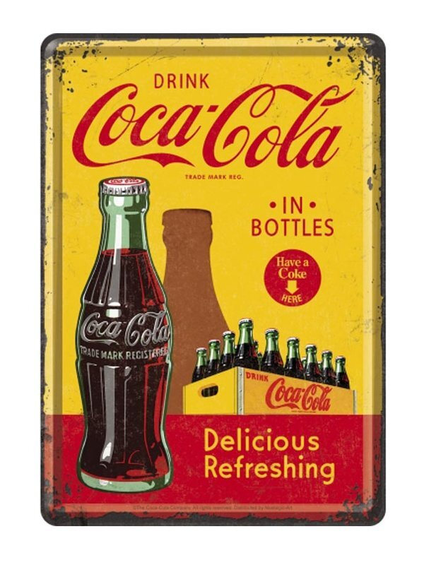 Image of Coca Cola - In Bottles Yellow Blechschild