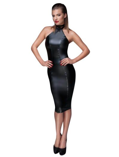 Noir Handmade Wetlook Bleistiftkleid
